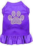 Chevron Paw Screen Print Dress Purple XS (8)